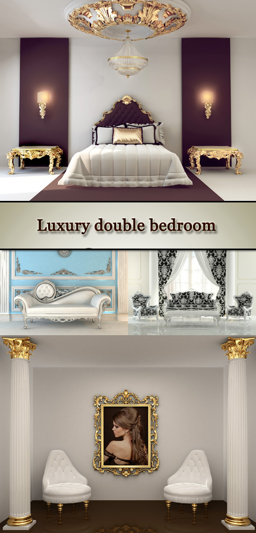 Stock Photo: Luxury double bedroom with golden furniture in royal interior