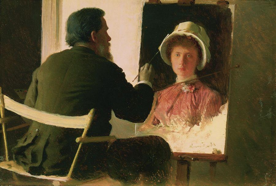 Ivan Kramskoy - Ivan Kramskoy Working on Portrait of his Daughter