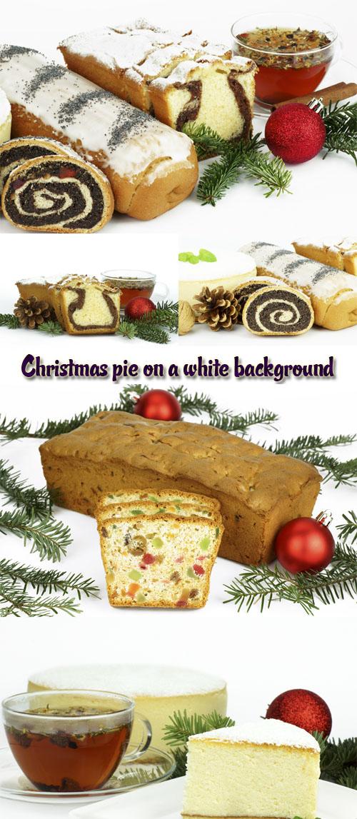 Stock Photo: Christmas pie on a white background