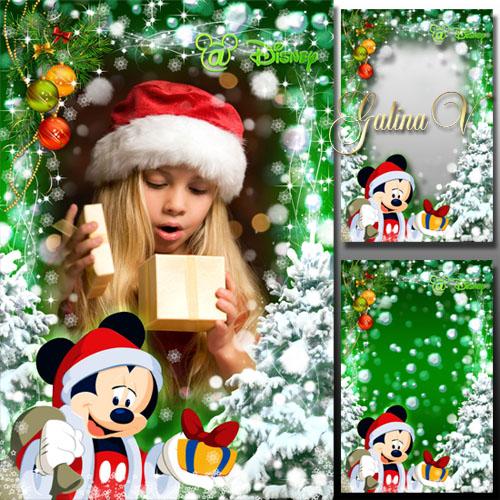 Детская рамка - Новогодние подарки от Микки Мауса