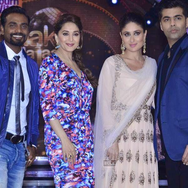 Remo, Madhuri Dixit, Kareena Kapoor and Karan Johar on the sets of Jhalak Dikhhla Jaa 7.(Pic: Viral Bhayani)<br /> <br /> <br />