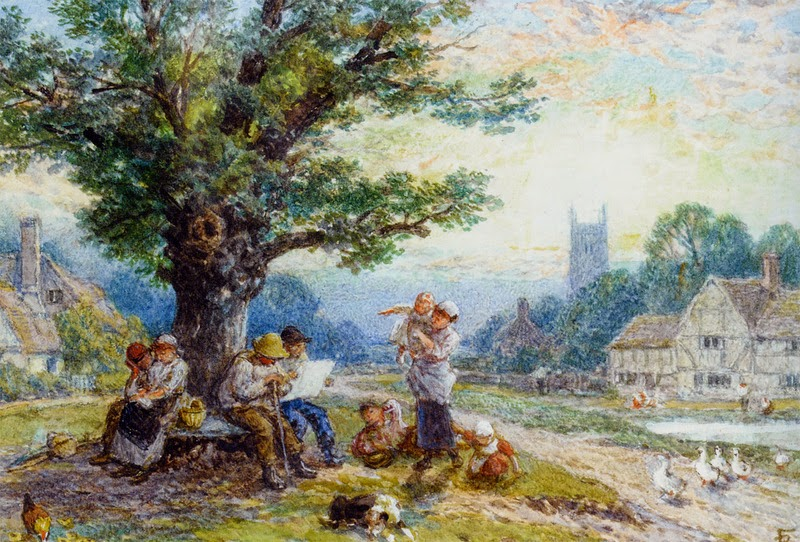 Myles Birket Foster - Figures And Children Beneath A Tree In A Village