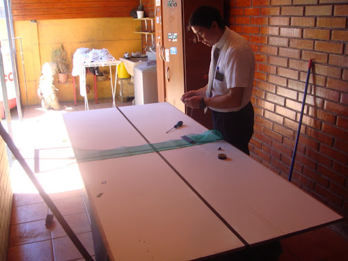 We made a ping pong table today to play on p day =)
