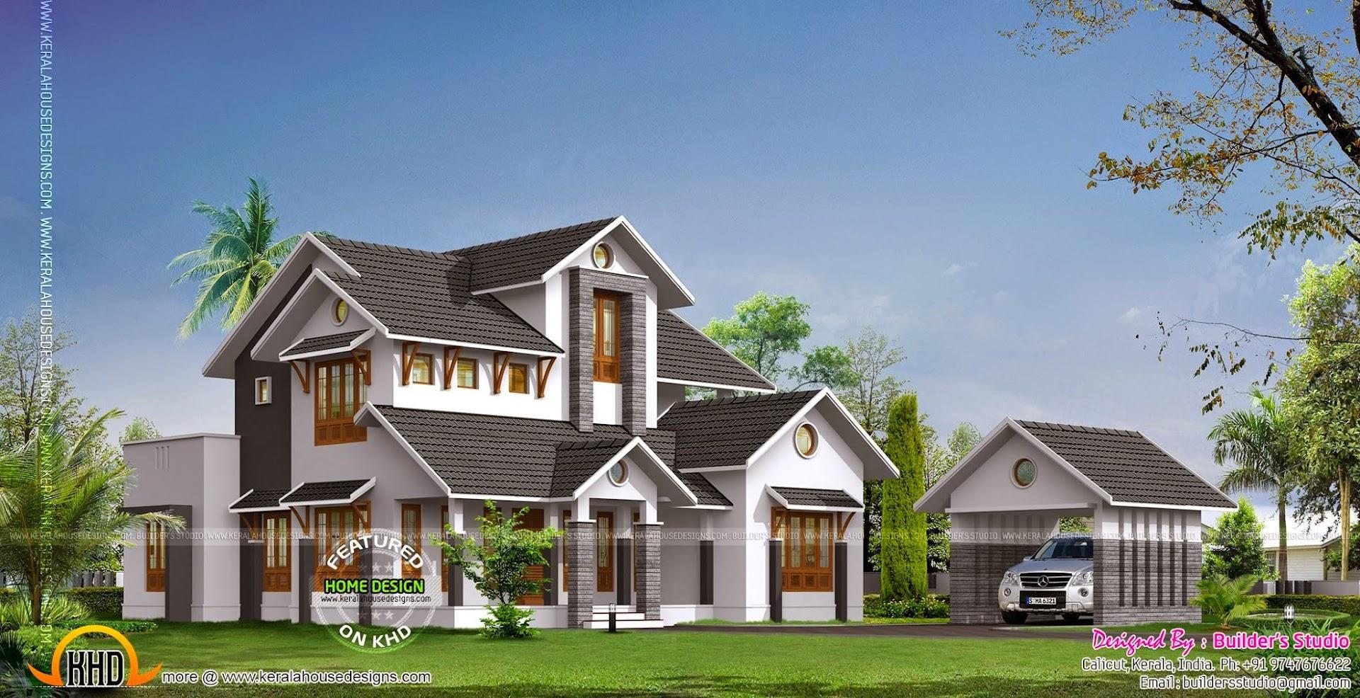 2735 square feet beautiful villa kerala home design and for Beautiful villa design