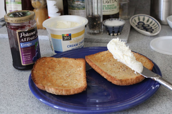 toast with cream cheese and grape jelly