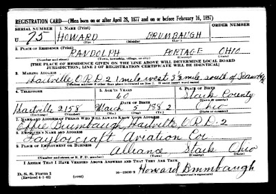 Howard Brumbaugh WWII Registration Card