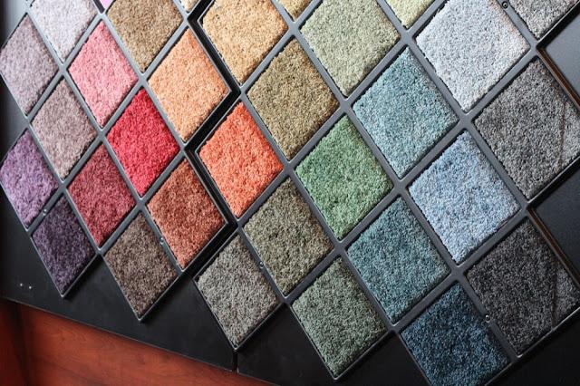 carpet samples in various bright colors