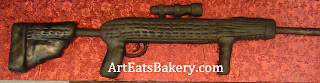 Custom unique black fondant 3D 22 rifle groom's cake with scope picture