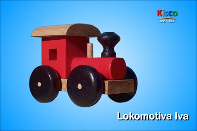 Lokomotiva Iva (u boji), drvena igračka za decu