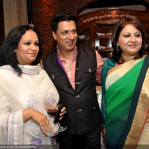 Vani Tripathi with Pratibha Prahlad and Madhur Bhandarkar during her birthday bash, held in Delhi.