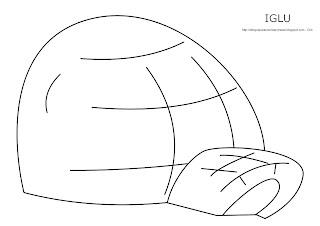 Dibujo del iglú para imprimir, colorear y pintar