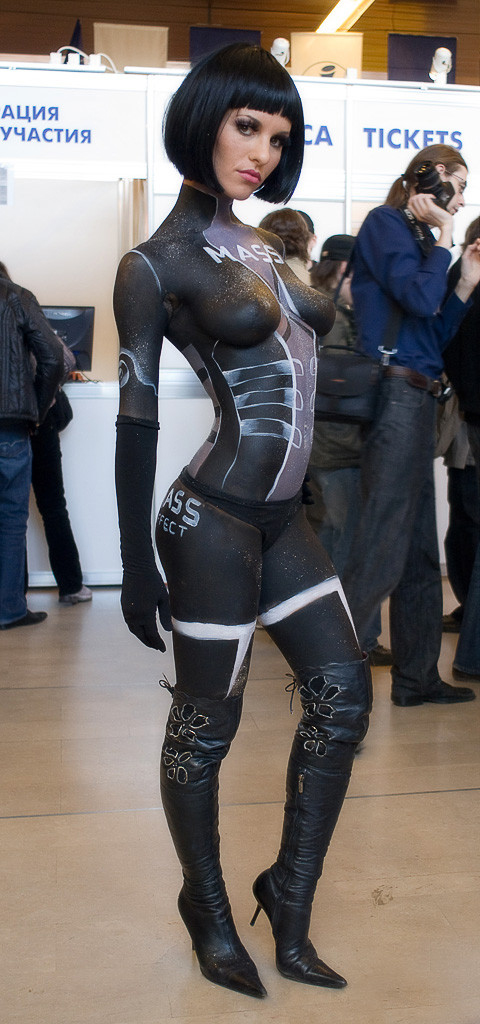 body painted breasts mass effect costume