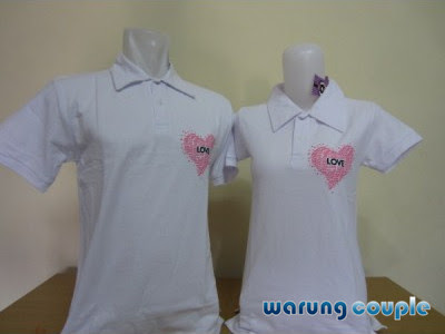 Kaos Polo Couple Love Putih
