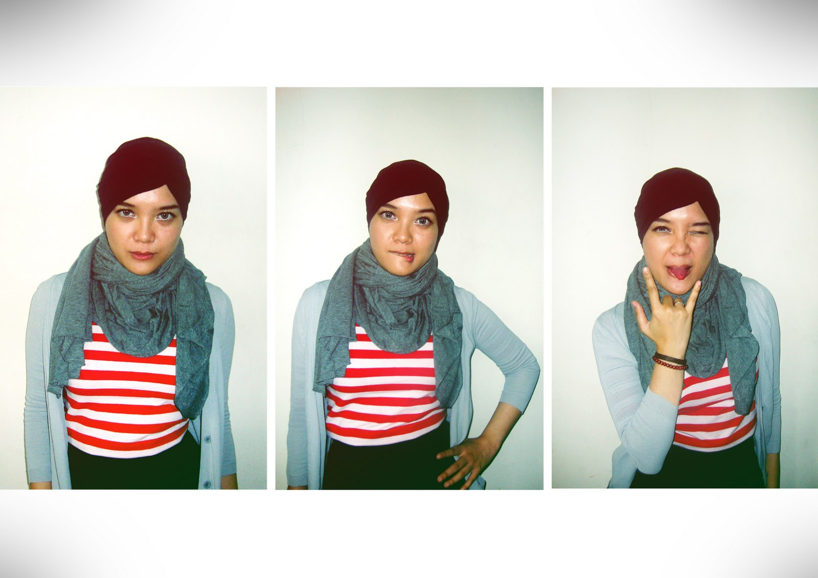 red, stripes and black - tutorial hijab zaskia