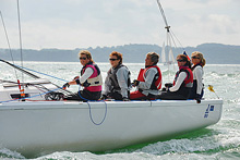 J/80 sailing downwind at Cowes- women's team
