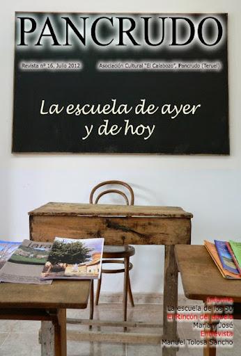 Portada Revista Pancrudo nº16 (2012). Escuela de Portalrubio (Pascual Tolosa Sancho)