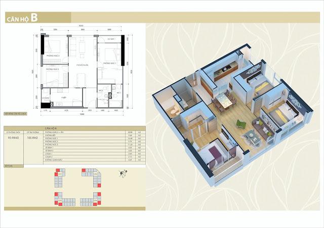 Thiết kế căn hộ loại B: 3 phòng ngủ, 2 vệ sinh diện tích 93- 94- 95m2 thông thủy