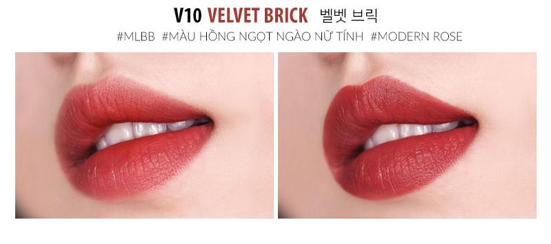 Moart Velvet Lip Tint V10 Velvet Brick