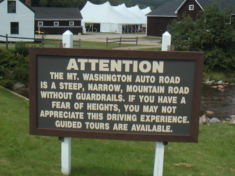 Mount Washington Hillclimb • Warning Sign - Bottom