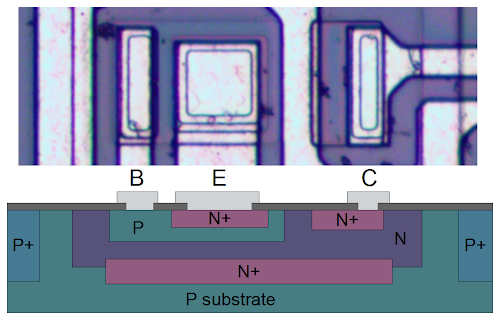 Structure of a NPN transistor inside the 7805 voltage regulator.