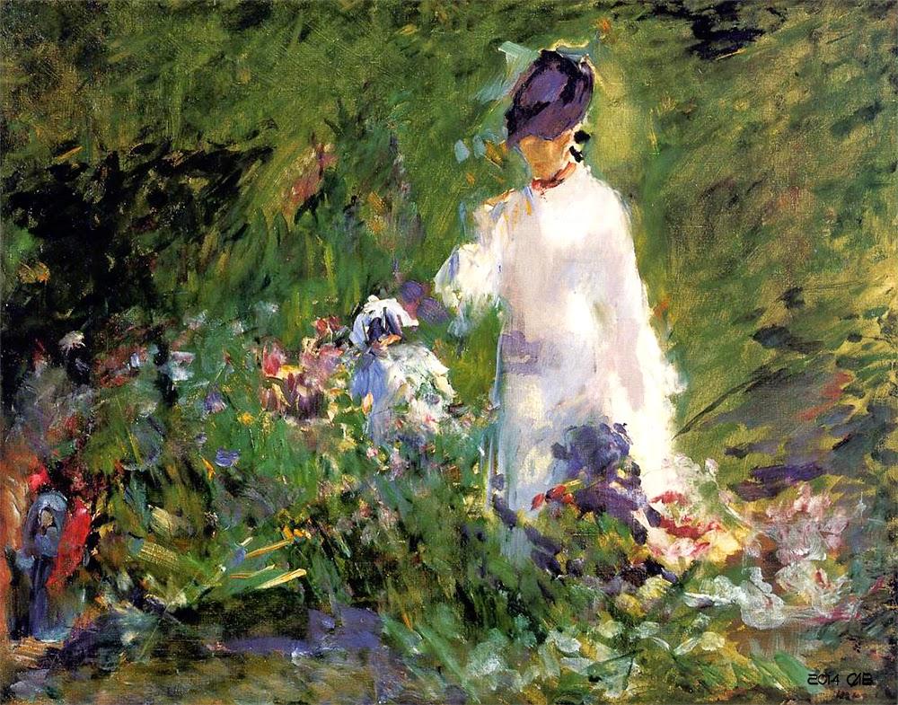 Testclod Jeune Femme Parmi Les Fleurs Tableau D Edouard Manet 1879