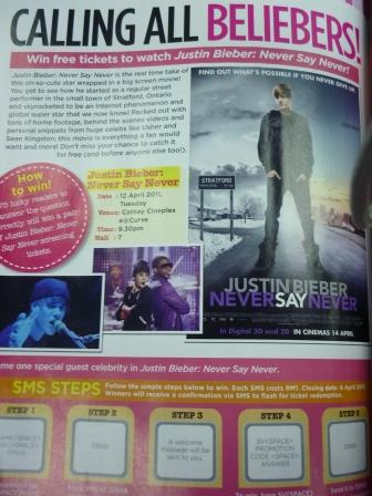 justin bieber movie tickets. To win a pair of movie tickets