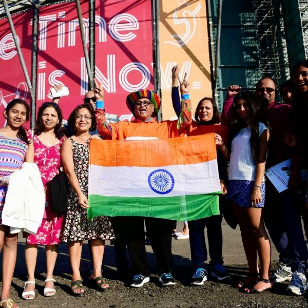 Indians with Tricolor ahead of the opening ceremony of Commonwealth Games in Glasgow, Scotland on Wednesday.