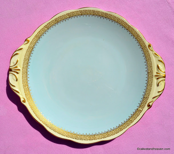 Queen Anne duck egg blue and cream fine china cake plate