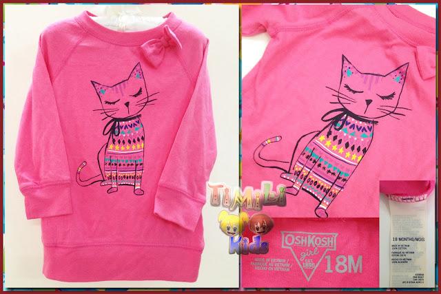 Áo thun bé gái hiệu Oshkosh, hàng xuất xịn, made in vietnam, tay dài mẫu mèo màu hồng.
