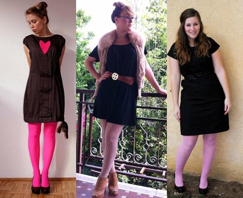 como usar meia-calça cor de rosa com vestido preto