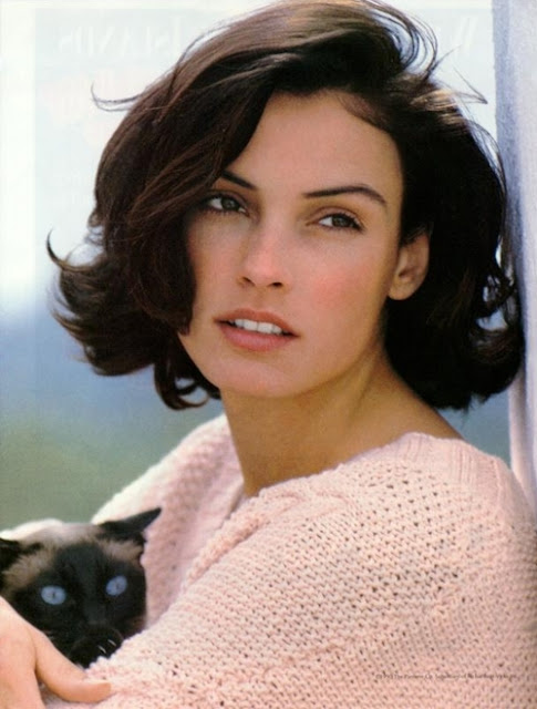Famke Janssen and a cat
