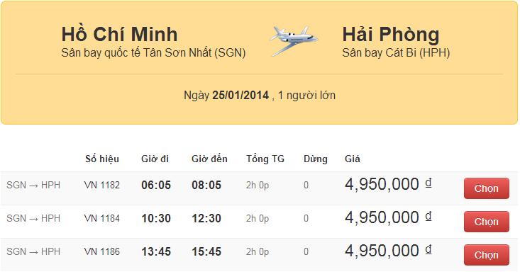 Vé máy bay tết 2014 đi Hải Phòng giá rẻ