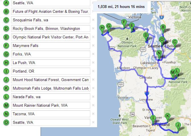 Маршрут путешествия по штатам Вашингтон и Орегон