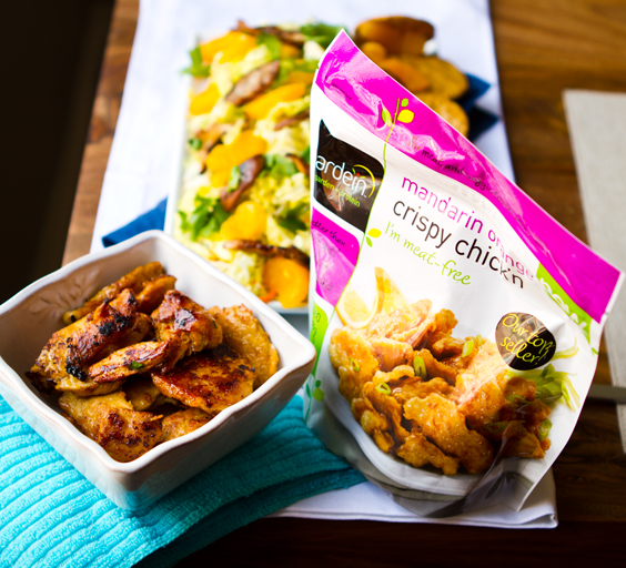 Mandarin Orange Crispy Chick N Shiitake Salad Gardein Inspired Vegan Recipe