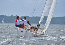 J/22 one-design sailboat- sailing upwind at Charleston