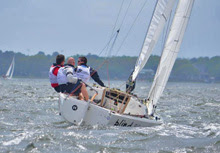 J/22 one-design sailboat- sailing upwind