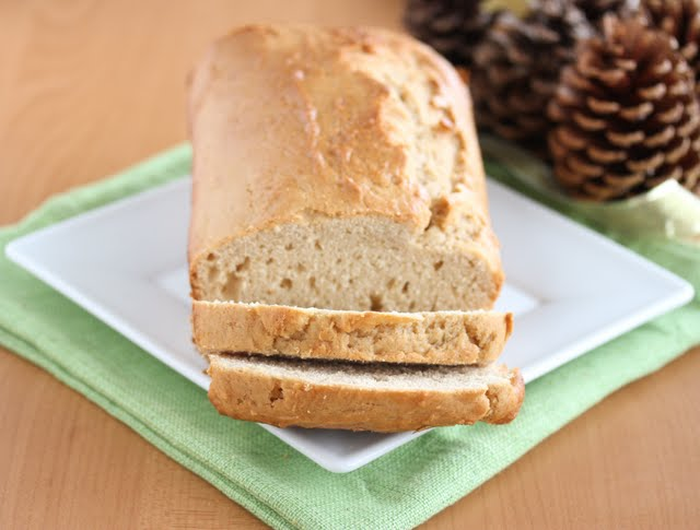 close-up photo of a loaf of eggnog bread