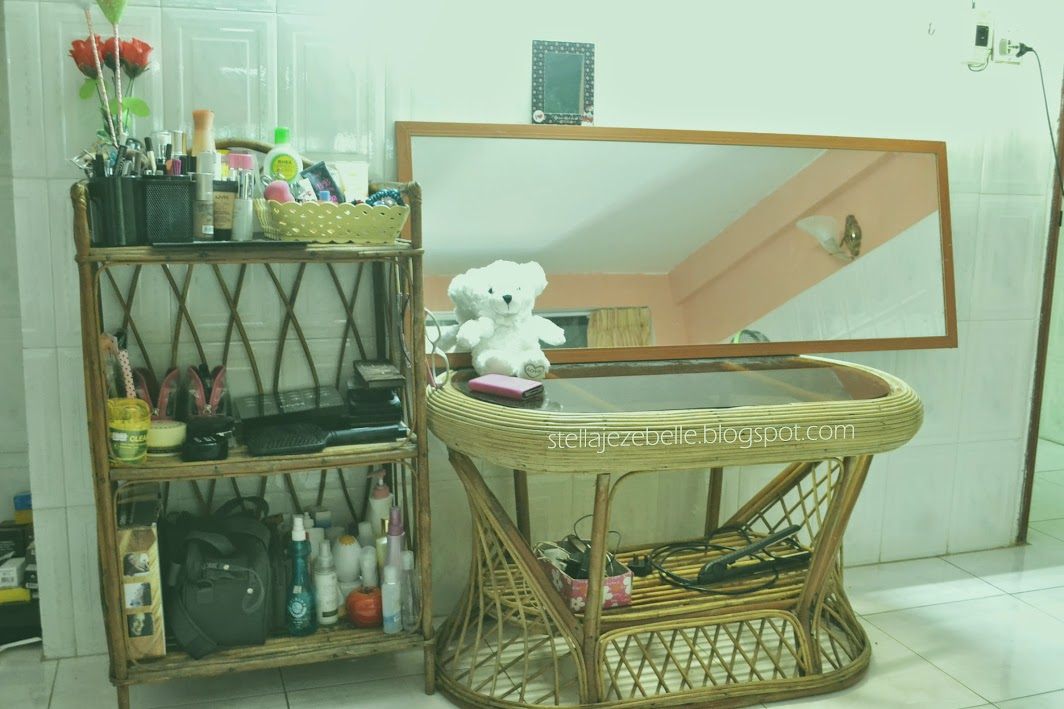 vanity table,makeup table, vanity set up, makeup set up, makeup collection, phnom penh, rattan, cambodia, asia, expatriate, living in cambodia