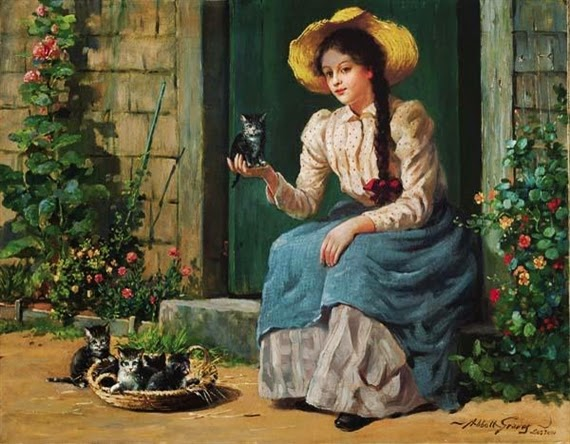 Abbott Fuller Graves - Young Girl with Kittens and Flowers