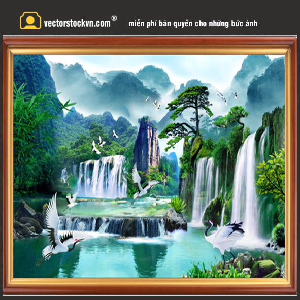 Tranh phong cảnh thác nước.