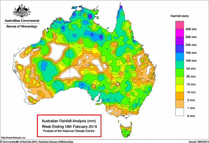 rainfall totals 12th-18th feb 2014 Australia