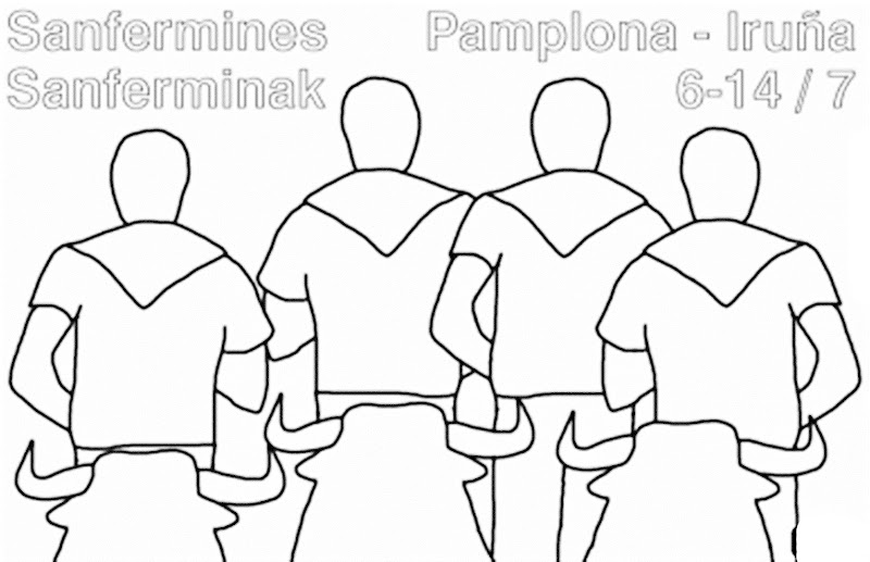 Images Pamplona bulls run coloring pages