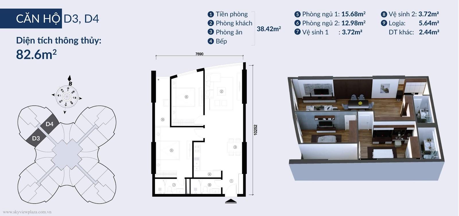 Chi tiết căn hộ D3, D4 toà Cánh hoa
