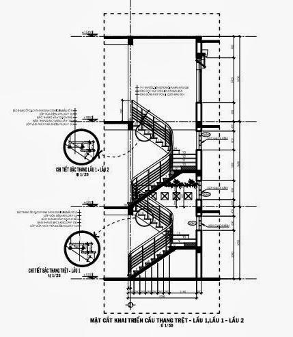 Mặt cắt triển khai cầu thang lầu trệt, tầng 2, tầng 3