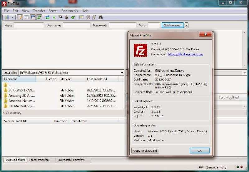 Screenshot of FileZilla v.3.7.1.1 FTP Client File Transfer PC Software Free Download at alldownloads4u.com