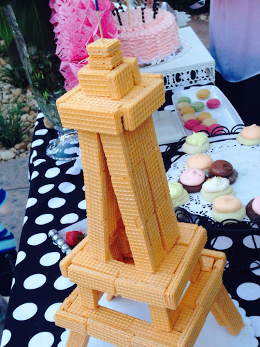 Eiffel Tower cookie, Eiffel Tower made from,wafer cookies, French party ideas