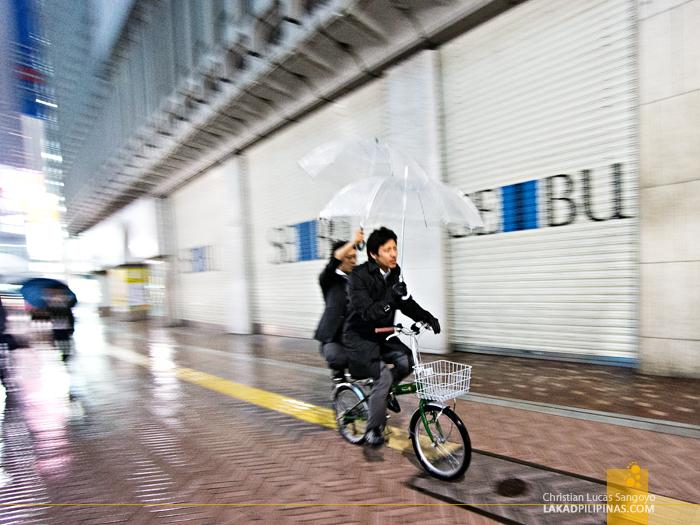 Riding in Tandem at Tokyo's Shibuya Crossing