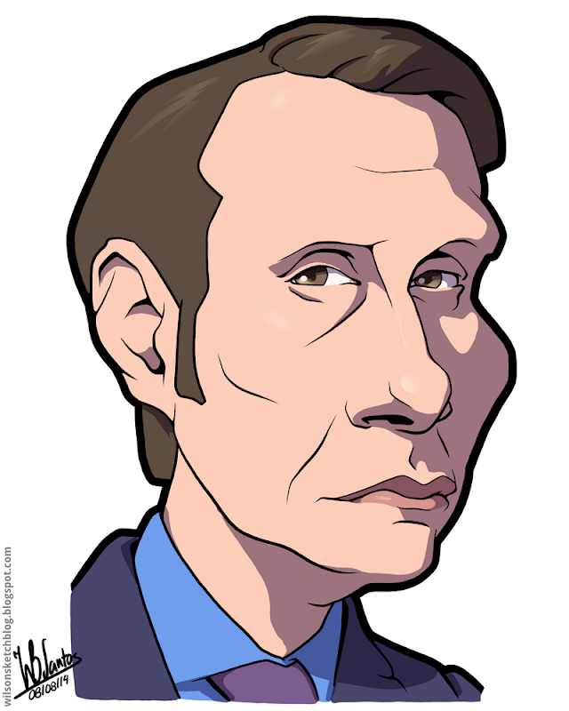 Cartoon caricature of Mads Mikkelsen as Dr. Hannibal Lecter.