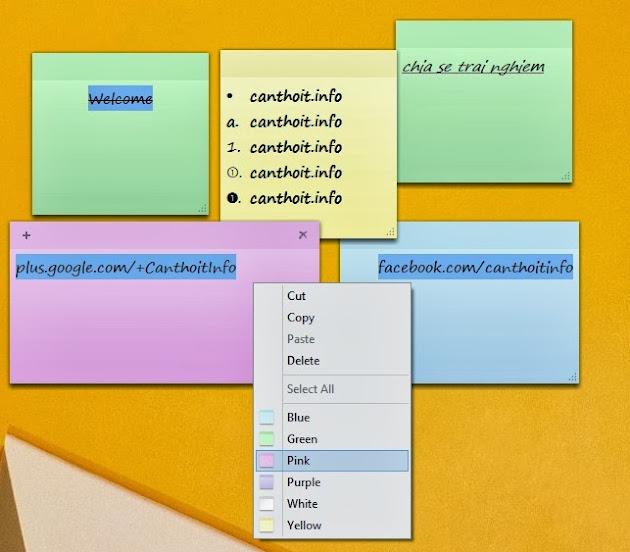 Định dạng ghi chú trong Sticky Notes
