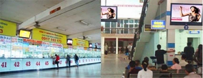 quảng cáo trên lcd ở nhà ga